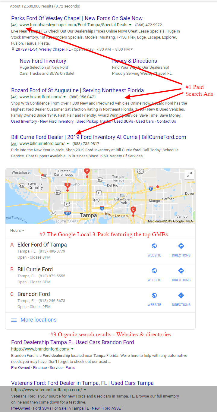 google local GMB search results
